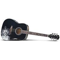 Saysn思雅晨41寸民谣吉他新手入门吉它木吉他贴图黑色魔音套装