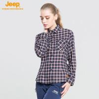 【特价清仓】jeep/吉普 春秋款女士长袖格子衬衫户外休闲速干衬衣J656010318